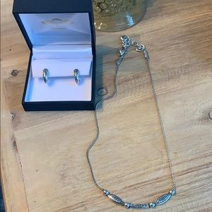 "Brighton silver earring & 16"" necklace set"